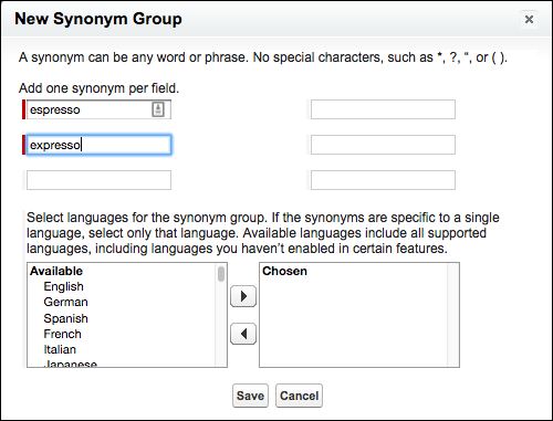 The dialog box for creating a synonym group, showing six separate fields for terms; you can also select the language for the synonym group