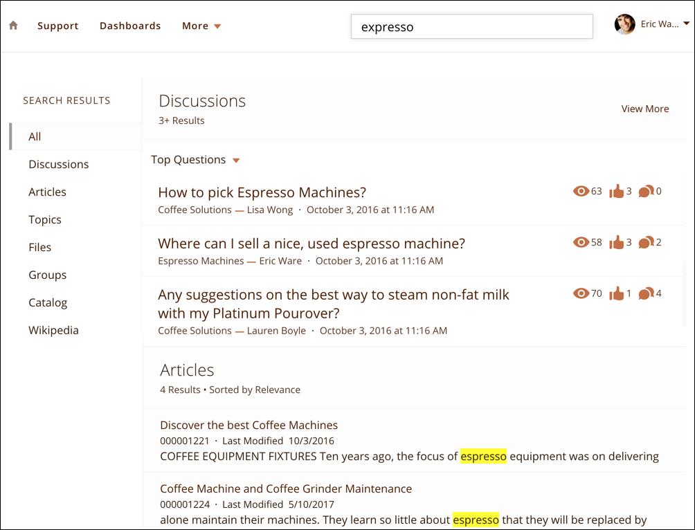 La page des résultats de recherche qui montre le terme de recherche 'expresso' et des résultats pour 'espresso'