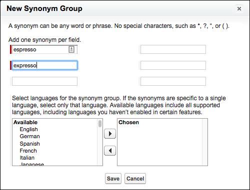 A caixa de diálogo para criar um grupo de sinônimos, mostrando seis campos diferentes para termos; você também pode selecionar o idioma do grupo de sinônimos