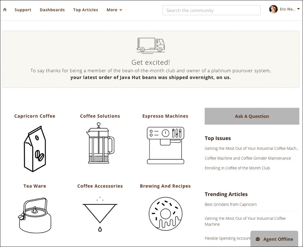 A página inicial da comunidade Capricorn Cafe