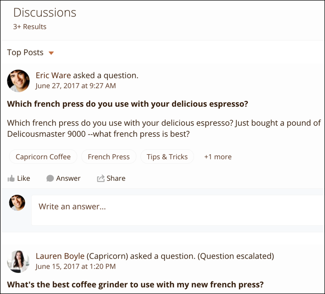 Expanded search results for Discussions; each result shows the title and text of the post, and the topics assigned to the post