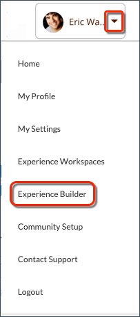 From the profile header, select Experience Builder