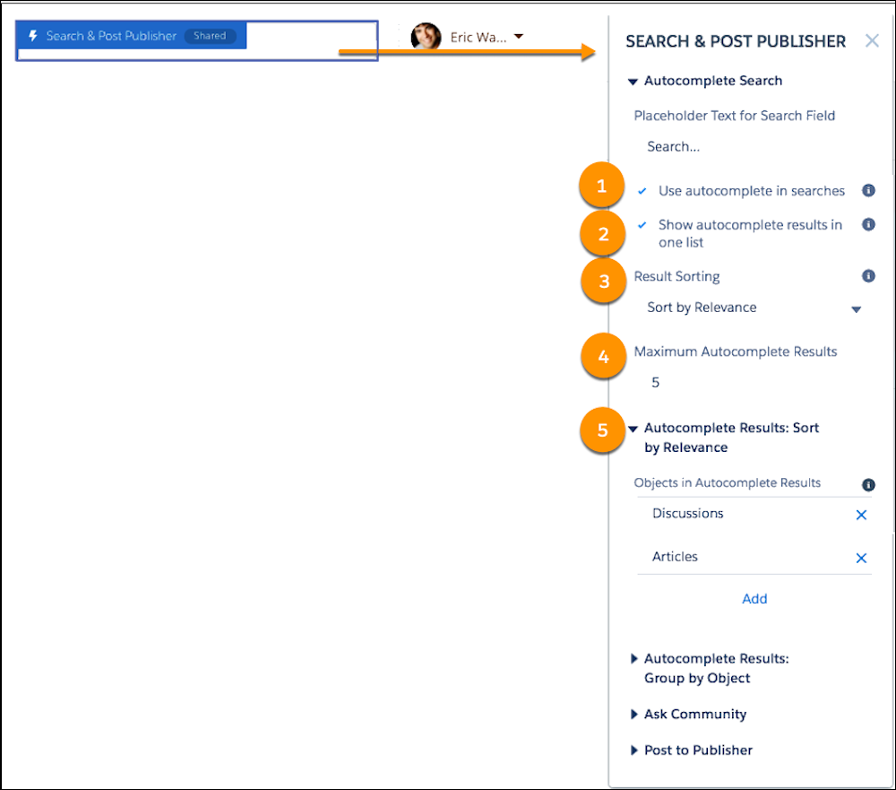 The search box highlighted in blue, and the Search & Post Publisher component open