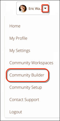 From the profile header, select Community Builder