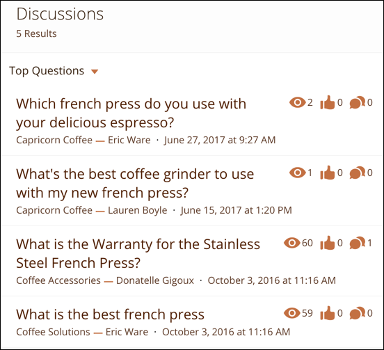 Compact search results for Discussions; each result shows the title of the post, the author of the post, and the topics assigned to the post