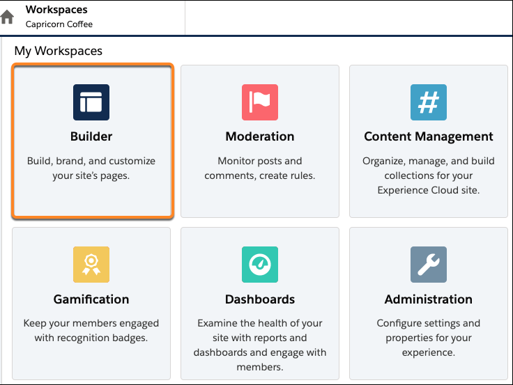 Experience Workspaces, with the Builder tile highlighted