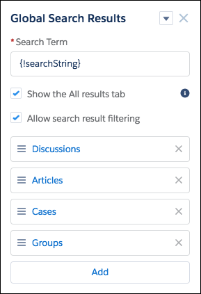 The Global Search Results component, with the default list of objects: Discussions, Articles, Cases, and Groups