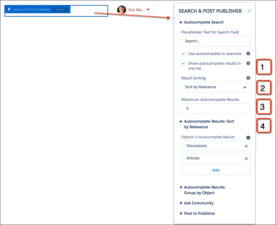 検索ボックスが青で強調表示され、[検索パブリッシャーと投稿パブリッシャー] コンポーネントが開いた状態