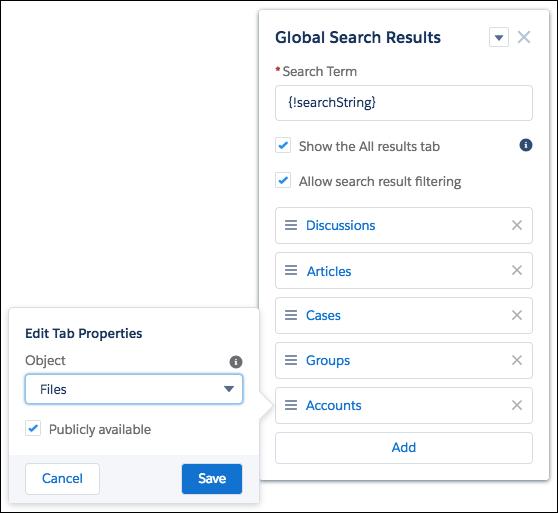 新しく追加されたオブジェクトの [タブプロパティの編集] が開いた状態のグローバル検索結果コンポーネント