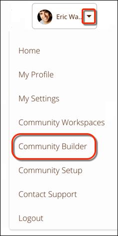 プロファイルヘッダーから [コミュニティビルダー] を選択する