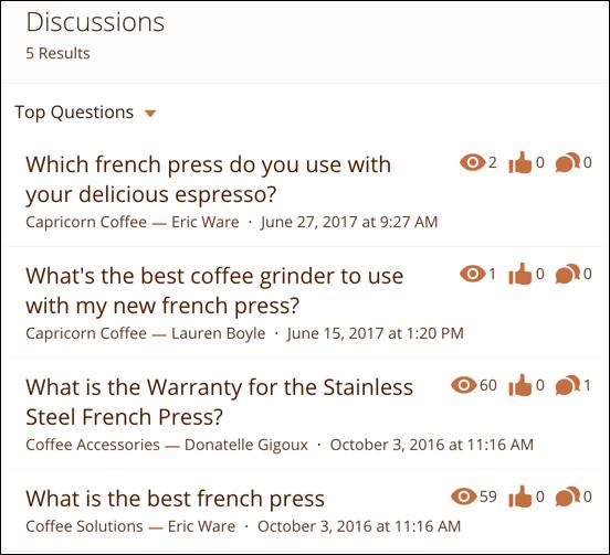 ディスカッションのコンパクトな検索結果。結果ごとに投稿のタイトル、投稿の著者、投稿に割り当てられたトピックが表示される