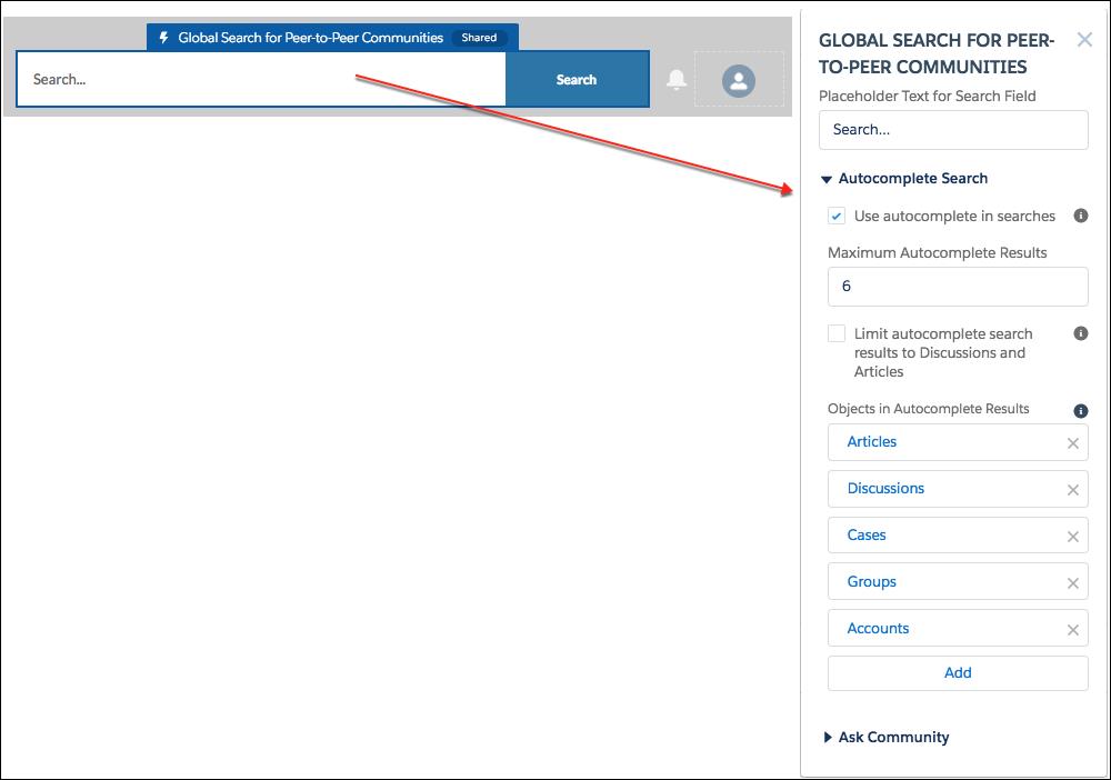 検索ボックスが青で強調表示され、[ピアツーピアコミュニティのグローバル検索] コンポーネントが開いた状態