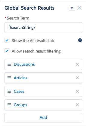 デフォルトのオブジェクトリスト (ディスカッション、記事、ケース、グループ) が表示されたグローバル検索結果コンポーネント