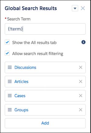 O componente Resultados da Pesquisa global, com a lista de objetos padrão: Discussões, Artigos, Casos e Grupos