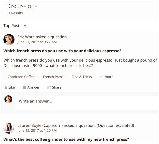Resultados da pesquisa expandidos para Discussões; cada resultado mostra o título e o texto da publicação, além dos tópicos atribuídos a ela