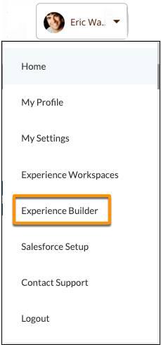 No cabeçalho do perfil, selecione Experience Builder