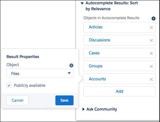 Alterar o objeto recém-adicionado ao objeto Arquivos nas Propriedades do resultado