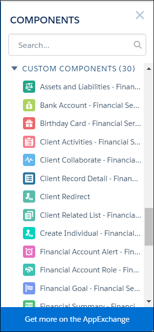 List of custom components in the Community Builder, including Assets and Liabilities, Bank Account, and Birthday Card.
