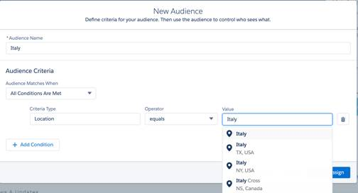 Setting audience criteria to target specific content to specific audiences.