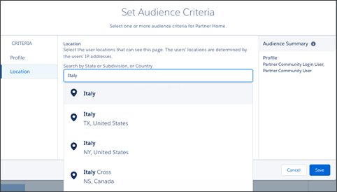 Setting criteria for an audience in Europe