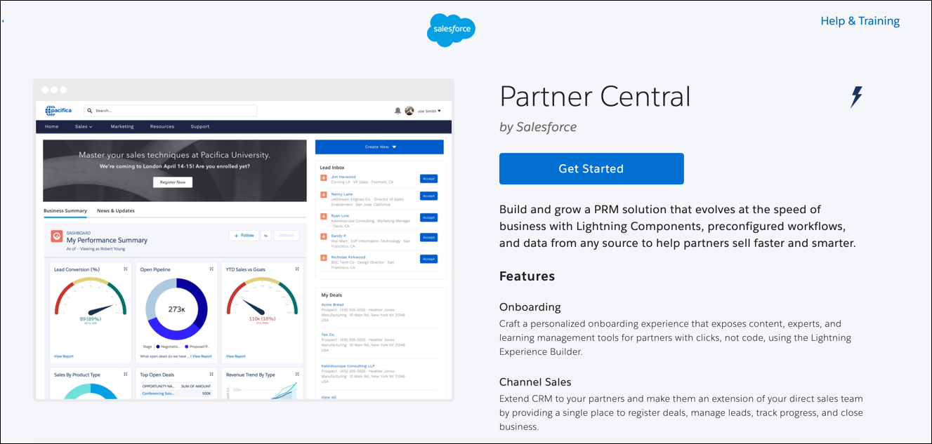 Die Vorlage 'Partner Central' speziell für Anwendungsfälle im Partnerportal.