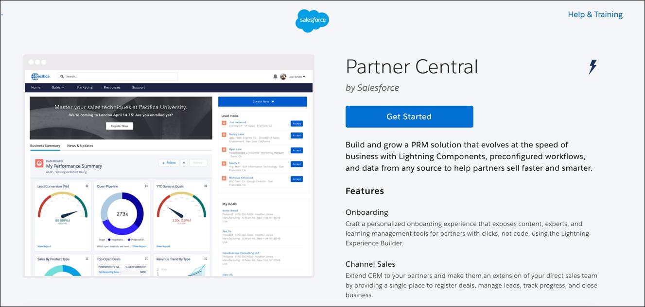 Modelo da Central de parceiros específico para casos de uso do portal do parceiro.