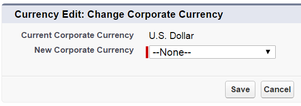 Edit corporate currency dialog