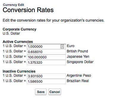 Lista de taxas de conversão para moedas ativas e inativas