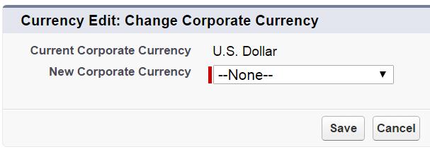 Caixa de diálogo Editar moeda corporativa