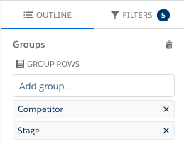 Groups section of the Lightning Report Builder, showing groups for Competitor and Stage