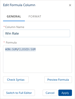 General pane of the Formula Column Editor with Name and Formula completed per the instructions