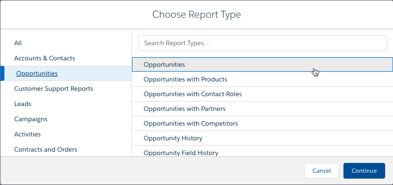 Lightning Report Builder Report Type Selection window, with Opportunities selected