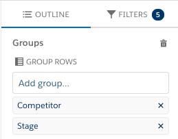 [Competitor (競合他社)] と [フェーズ] のグループが表示された、Lightning レポートビルダーの [グループ] セクション