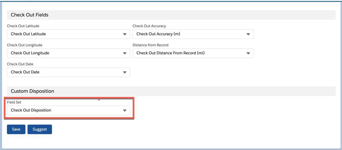 Screenshot shows the Custom Disposition > Field Set dropdown menu.
