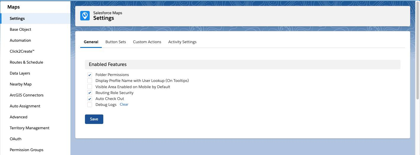 Screenshot shows the Salesforce Maps Configuration Settings menu.