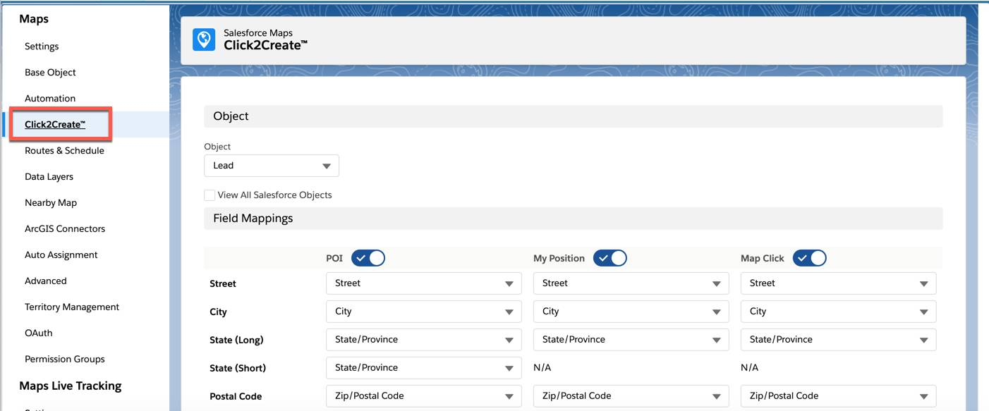 Screenshot shows the Click2Create configuration page in Salesforce Maps.