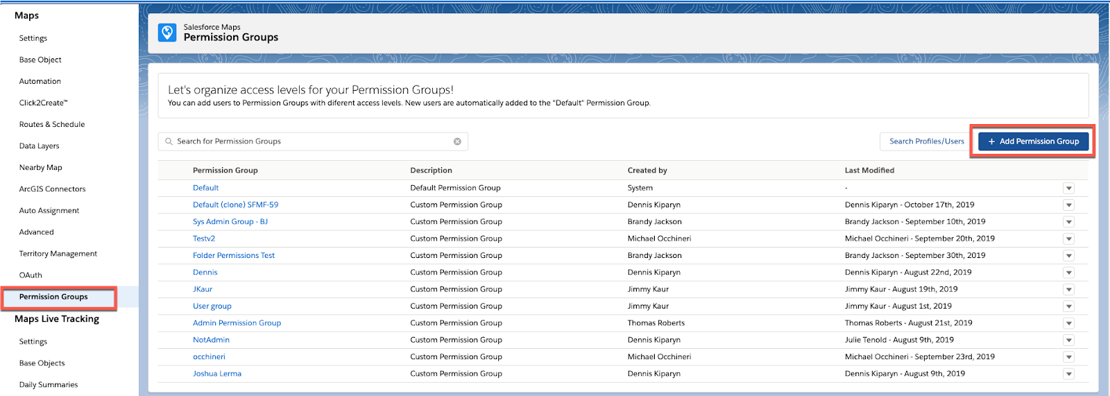 Screenshot shows the Salesforce Maps Permission Groups page and highlights the Add Permission Group button.