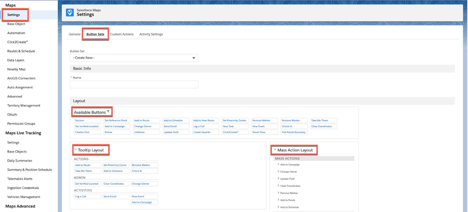 Screenshot shows the Salesforce Maps Button Sets settings page.