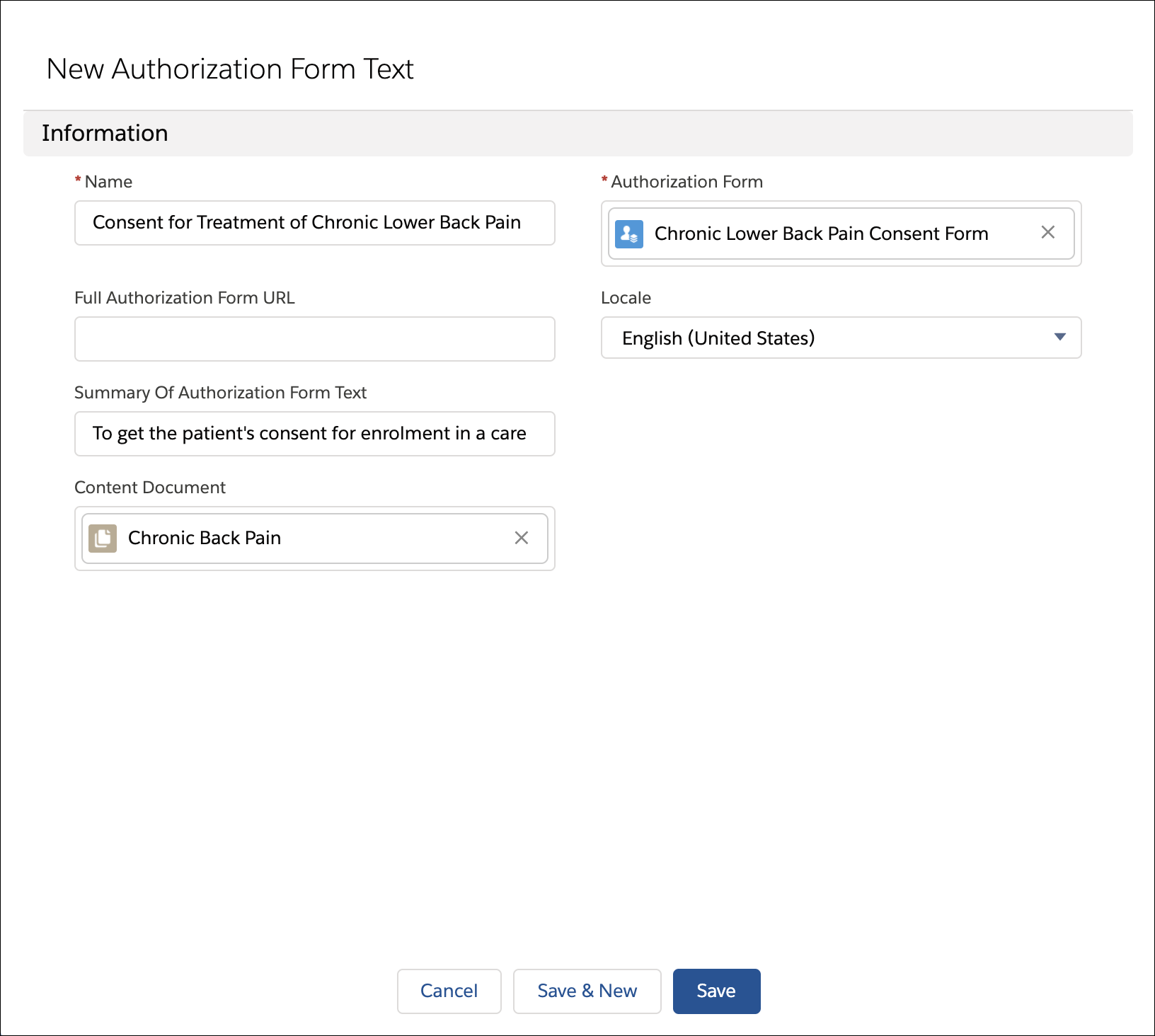 Through the associated authorization forms select the uploaded consent form in the Content Document field.