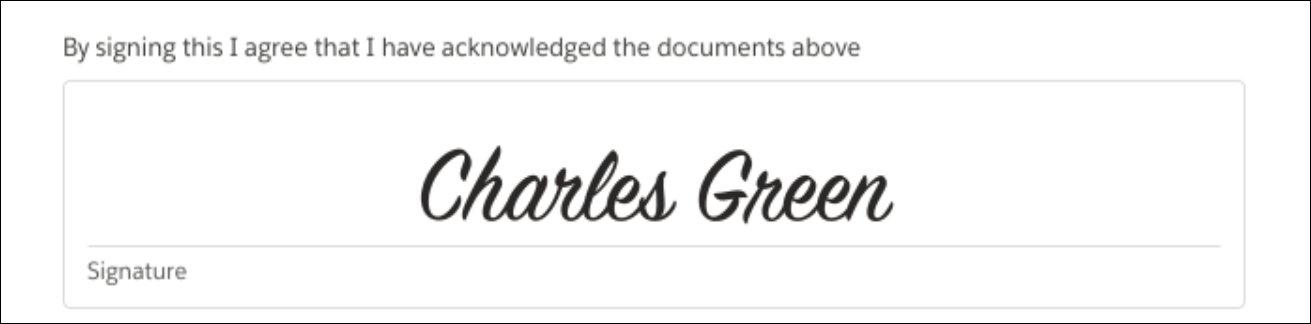 Signature field showing the patient, Charles Green, has signed to give his consent.