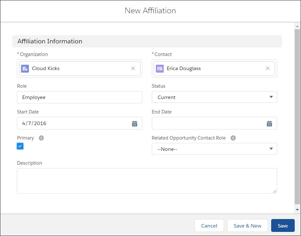 The New Affiliation creation form.