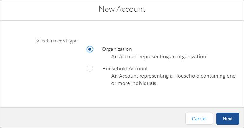 The New Account creation form, with an option to select an organization or household account.