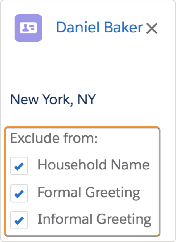 Options to exclude a household member from message greetings.