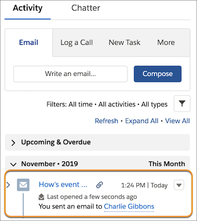 Information about a sent email, like the date and subject line, appears in the activity timeline.