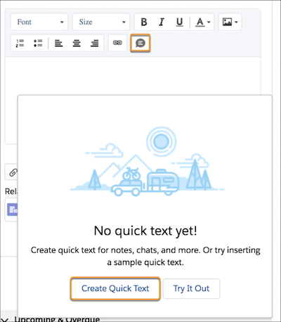 Compose quick text icon and button