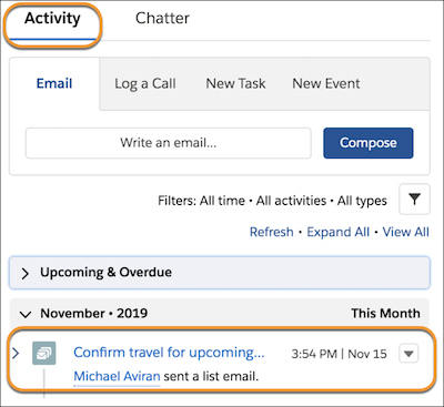 Information about a sent email listed on the activity timeline