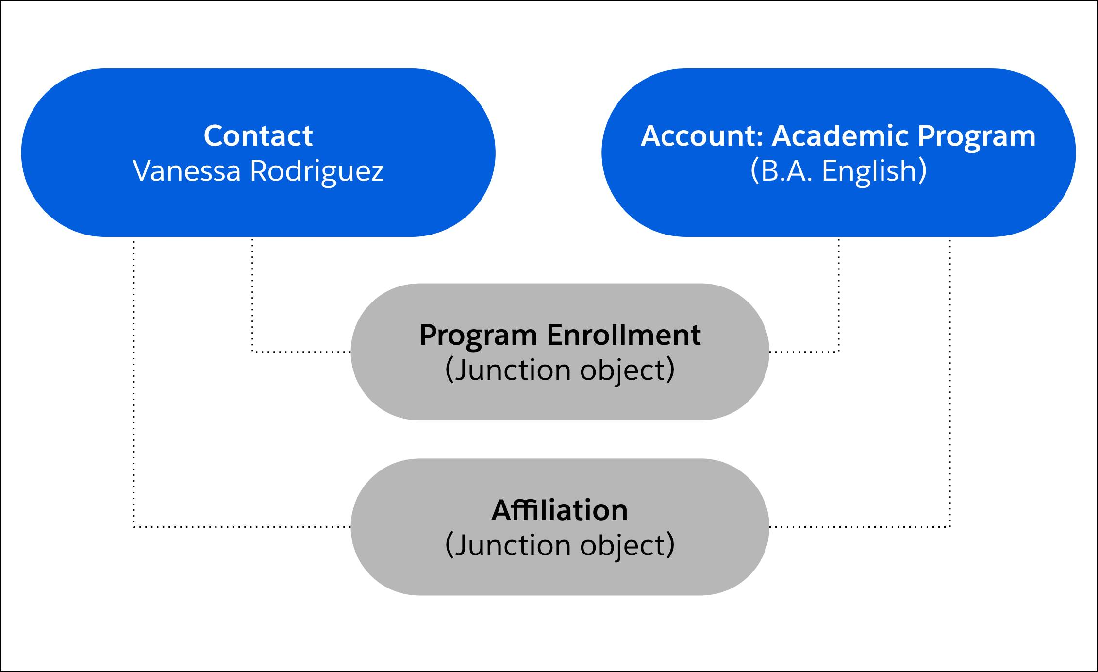 Program Enrollments connect contacts to Academic Program accounts and Affiliations represent the connection of contact records and academic program account records.