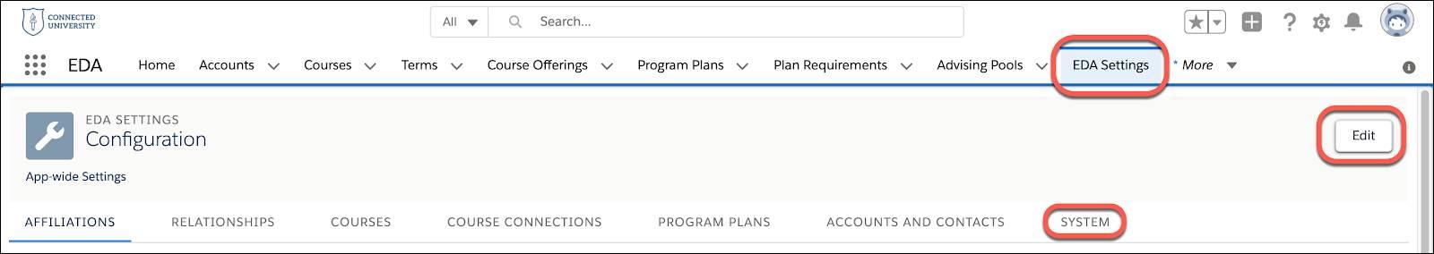 Navigate to System settings in EDA Settings.