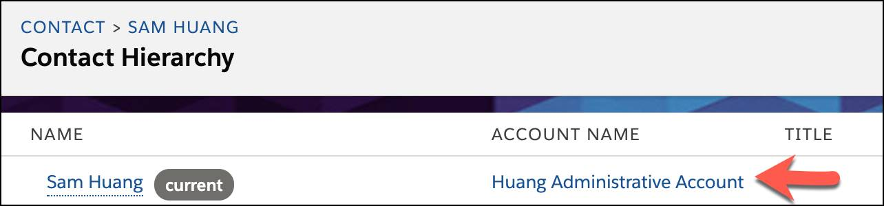 Contact Hierarchy record for Sam Huang.