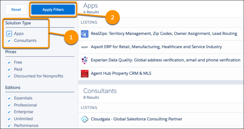 The search results page on AppExchange with highlights around Solution Type filters and Apply Filters button